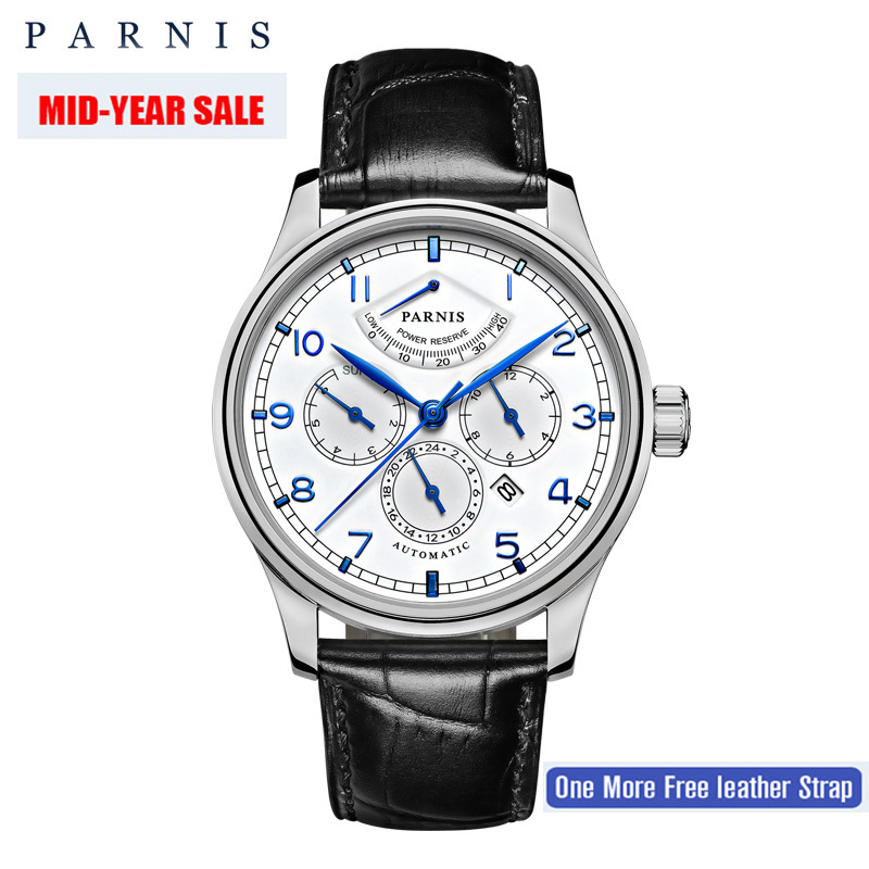 Parnis 42mm Automatic Watch Moon Phase Power Reserve Watch Men Luxury Brand Top Miyota Mechanical Winder Watch PA6062-A Gift Men luxury brand 42mm parnis black dial white dial date 24 hour power reserve moon phase miyota 9100 automatic mens wrist watch p560