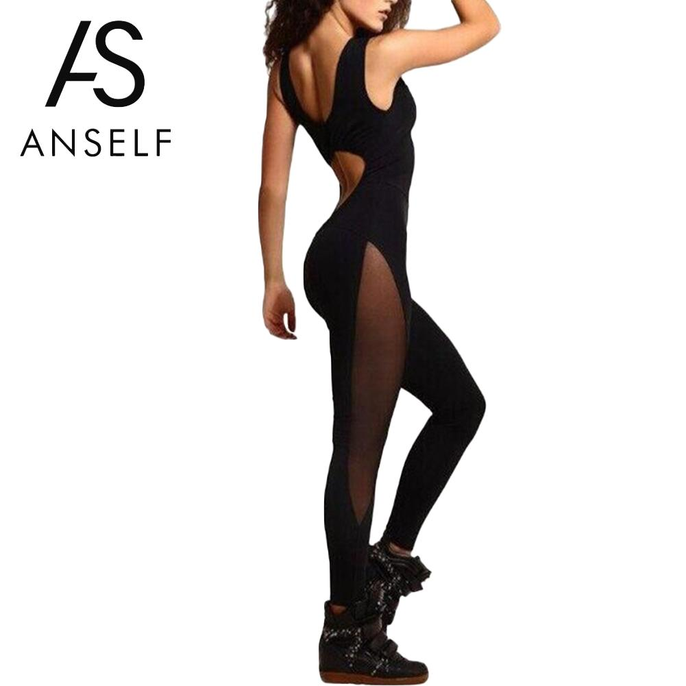 Sexy Women Sporting   Jumpsuit   Solid Mesh Splice O Neck Sleeveless Catsuit Leotards Female Fitness Playsuit Workout Pants Black