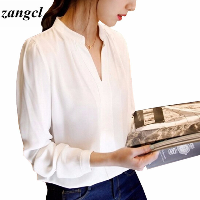 Zangcl Casual White Women Blouse Ladies Solid Elegant V-neck Blouses Long Sleeve OL Office Shirt