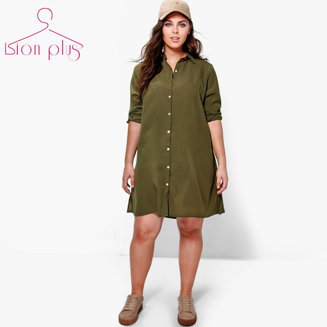 2608fff3bacb army green shirt dress women plus size 6xl 5xl 2017 Spring Back Flower  Print Long Sleeve Solid Dresses Shirt Collar New Clothes
