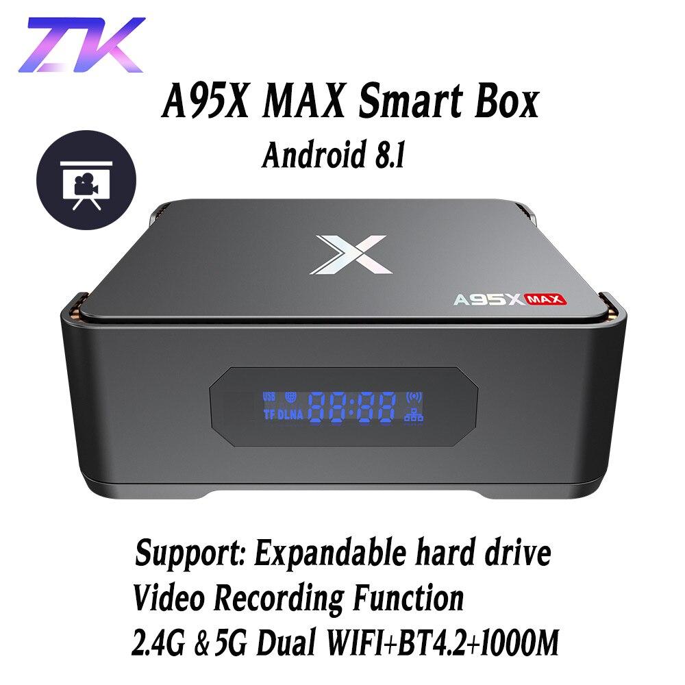 A95X MAX X2 Android 8.1 TV Box 4G 64G Amlogic S905X2 2.4G & 5G Wifi BT 4.2 1000 M Smart boîtier de télévision Enregistrement Vidéo Set Top Box