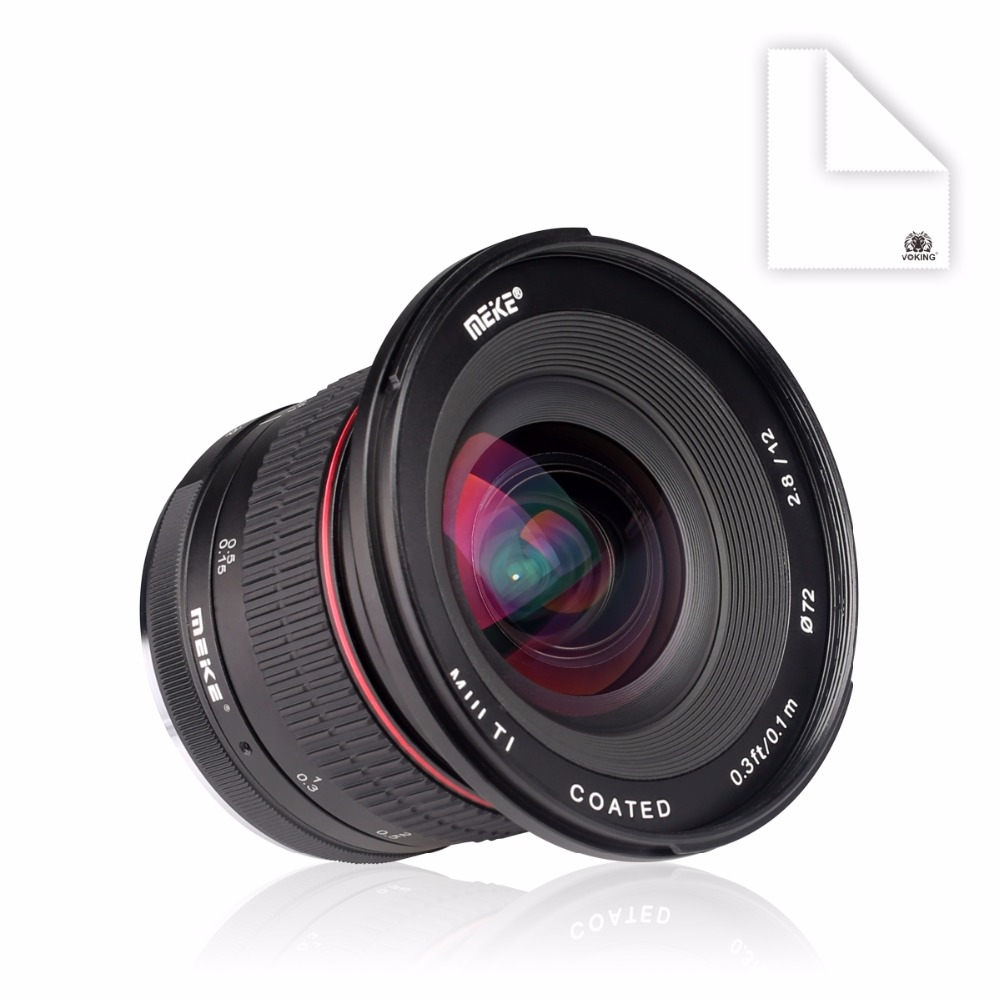 Meike 12mm f/2.8 Ultra Wide Angle Fixed Lens with Removeable Hood for Sony Alpha and Nex Mirrorless Camera with APS-C