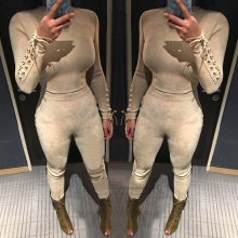 Women Sexy Full Length Suede Suits 2 Pieces Set Solid Tight Club Suede Jumpsuits Sexy Back Hollow Rompers