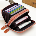 2016 New  Genuine Leather Card Holder Double Zipper Wallet Credit Card Holders Change Purses Unisex Organizer Purses Porte Carte