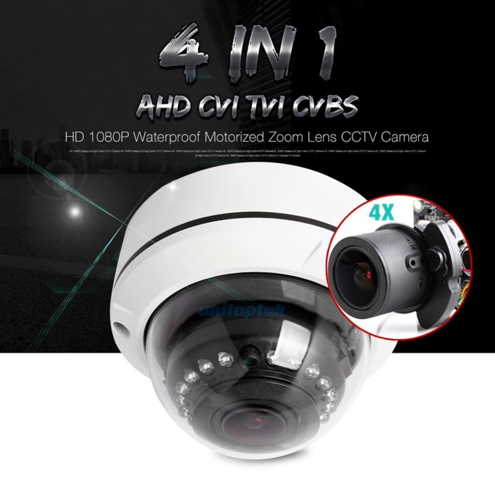 2MP AHD Camera 1080P Motorized Lens 4x Zoom 4 IN 1 AHD/CVI/TVI/CVBS Dome Camera Security CCTV Camera,With Dial Switch OSD Menu