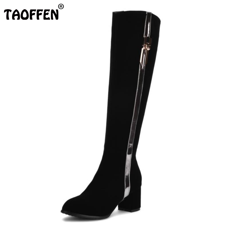 TAOFFEN Women Knee Boots Woman Suede Leather Square Heel Bootines Mujer Ladies Brand Zipper Heels Footwear Shoes Size 31-43 women round toe ankle boots woman fashion platform wedge botas ladies brand suede leather high heel shoes footwear size 34 47