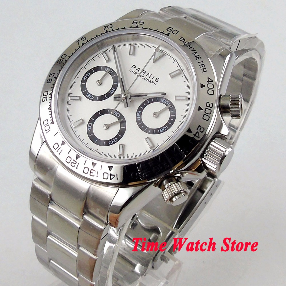 Solid 39mm PARNIS Quartz men's watch Full Chronograph white dial luminous sapphire glass stop watch men 1176 цена и фото