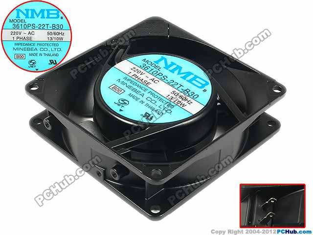 NMB-MAT 3610PS-22T-B30 B00 AC 220V 13/10W 90x90x25mm Server Square Fan nmb mat new 5915pc 20w b30 b00 ac 200v 34w 172x150x38mm server round fan