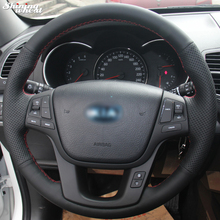 BANNIS Вручную прошитый черный кожаный чехол руль для Kia Sorento 2009