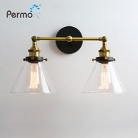 Permo Modern 6.3'' Funnel Glass Metal Double Heads Wall Light Retro Brass Wall Lamp Country Style E27 Edison Sconce Lamp Fixture