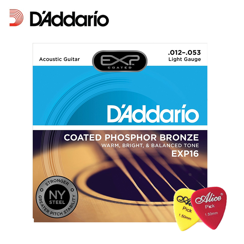 DAddario Daddario EXP16 with NY Steel Phosphor Bronze Acoustic Guitar Strings, Coated, Light, 12-53 (With 2pcs picks)