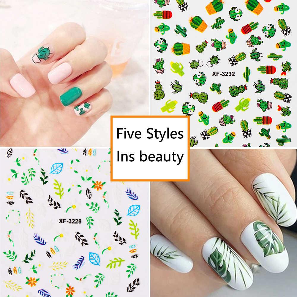 5 estilos flora unha beleza verão manicure vara arte do prego adesivos flor uma linha cacto abacate marca dwaterágua transferência decalques do prego