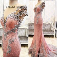 ZYLLGF Bridal Sexy Mermaid Crystal Kralen Dubai Avondjurk Sheer Terug Cap Mouw Lace Avond Formele Gown Feestjurk TS2