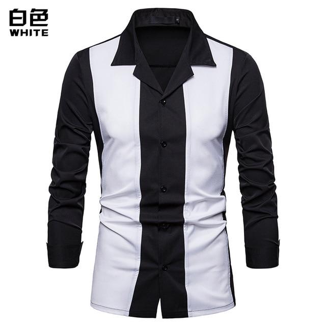 6bff0da22 € 14.61 35% de DESCUENTO Camisa de hombre 2019 primavera nueva camisa de  retazos suelta de moda para hombre ropa Casual de Negocios Sociales camisa  ...