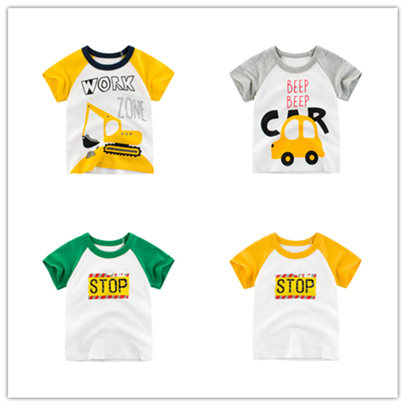 Boys T-Shirts Tops Tees Short-Sleeve Striped Cotton Children Summer Letter 4037-19 2-10-Years