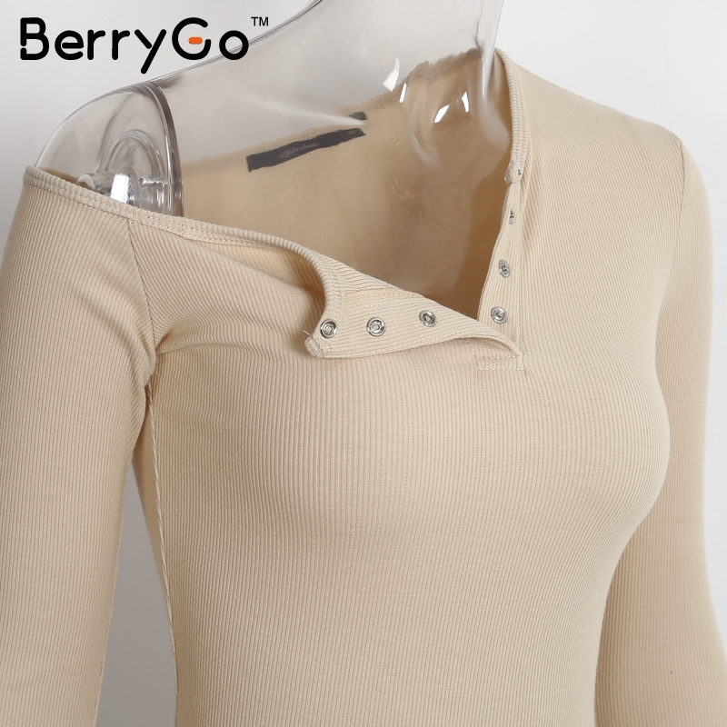 BerryGo Elegant off shoulder bodycon dress Long sleeve short evening party club white dress Women autumn winter black sexy dress 12