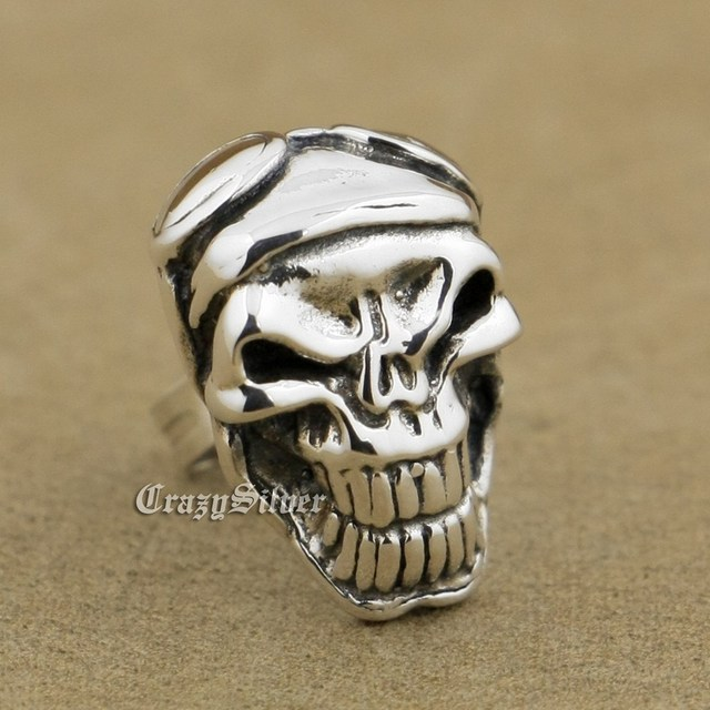 925 Sterling Silver Skull Mens Biker Punk Stud Earring 8R024 (2 Pieces)