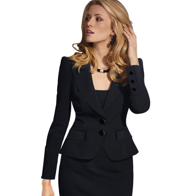 Womens Autumn Winter Long Sleeve Turn Down Collar Button Wear to Work Blazer Jacket