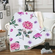 Flower Pink Flamingo Sherpa Throw Blanket For Adults Kids Leaves Pineapple Animal Printed Christmas Bed Blankets Sofa Manta Koc