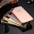 Caso espelho para iphone 6 6 s moldura de alumínio + pc duro chapeamento tampa traseira para o iphone 6 s plus tampa do telefone de metal para iphone 6 além de