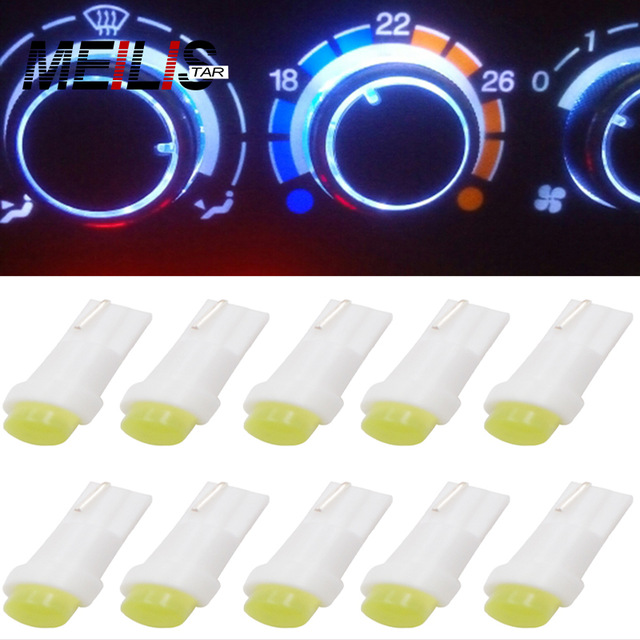 10PCS/LOT T5 W1.2W LED Car Auto Side Wedge Gauge Dashboard Gauge Instrument Light Lamp Bulb 12V White Ice Blue Red Green Yellow