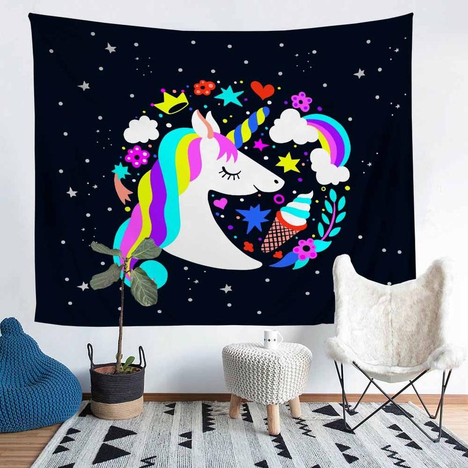 Unicorn Microfiber Wall Hanging Typestry Rainbow Bedroom Decor Towel Stars Floral Love Pattern Beach Towel Black Home Tablecloth Tapestry Aliexpress