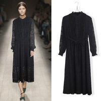European American Style Autumn Winter New Long Style A Line Hollow Out Lace Button Stand Collar