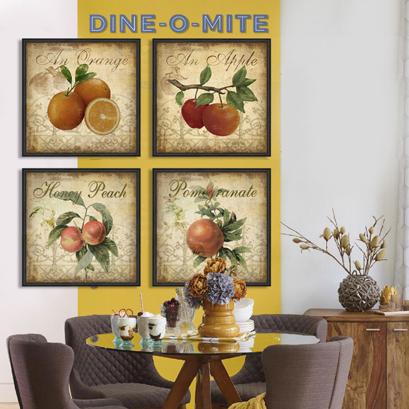 Kitchen decor fruit apple 4 piece canvas wall art home decor ...
