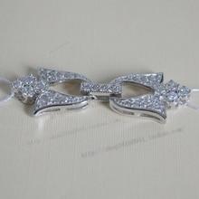 Wholesale silver quality diamond pearl necklace clasp big zircon manjaris necklace buttons diy