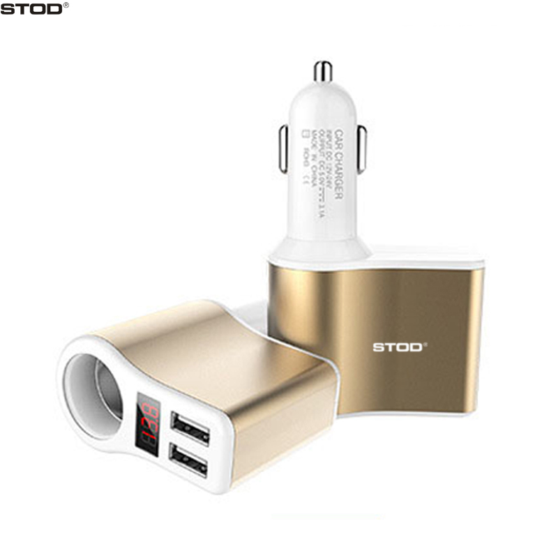BTOD Dual USB Car Charger External Cigarette Lighter Plug LED Display Voltage For iPhone 5 5S 6 6S 7 Plus Samsung Huawei Adapter