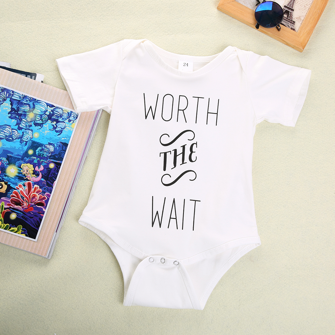 16 New Baby Boys Girls Bowtie Quote Bodysuit Playsuit Outfits Clothing 0-12M 1
