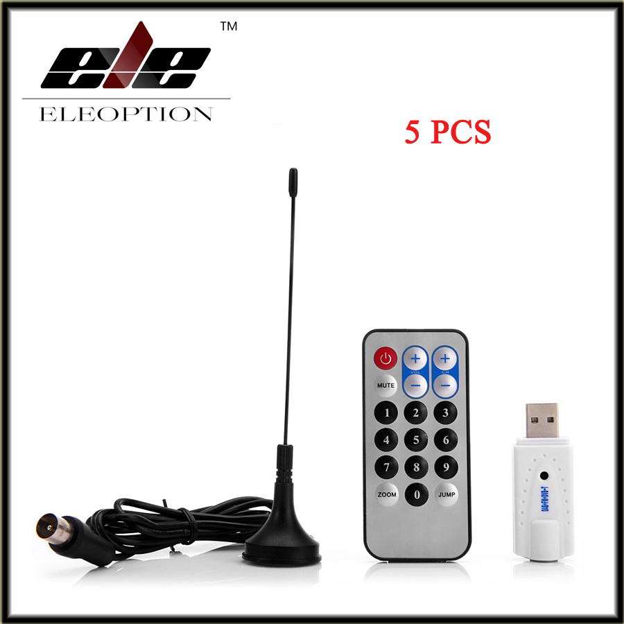 Eleoption 5 PCS RTL-SDR FM DAB DVB-T USB2.0 Digital Mini Portable TV Stick Receiver Tuner with R820T RTL2832U mini dvb t digital tv usb dongle stick w fm dab dab remote control rtl2832u r820t