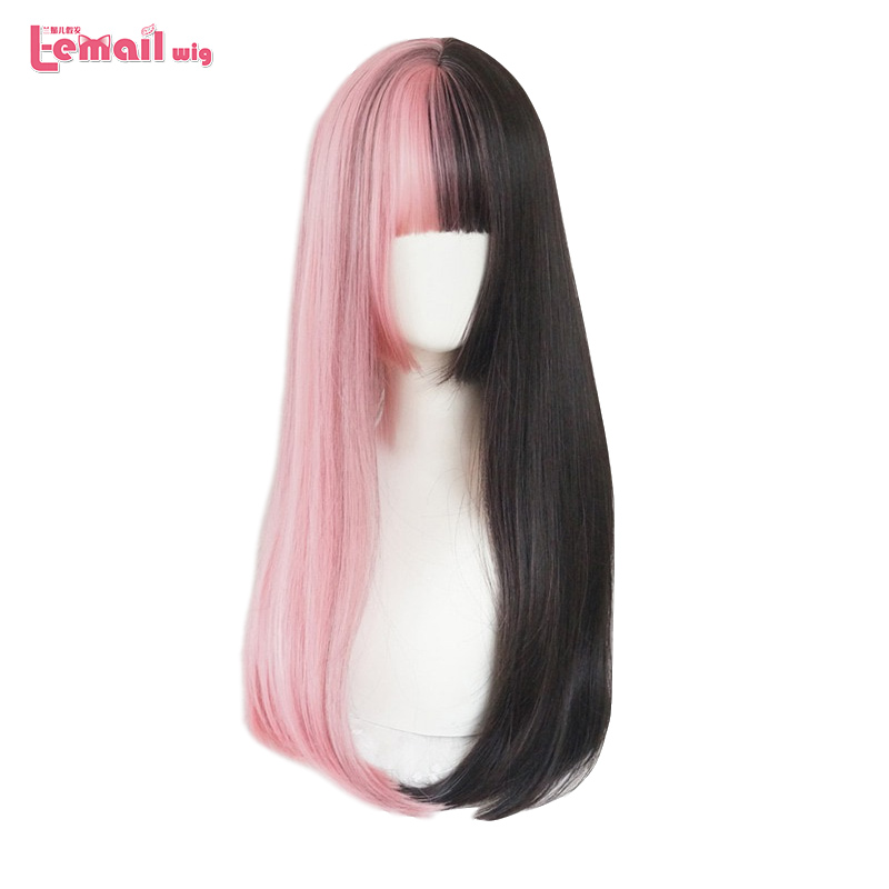 L-email wig Pink and Black Lolita Wig 60cm Long Straight Cosplay Wig with Bangs Heat Resistant Synthetic Hair Perucas(China)