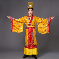 Adult Costume Chinese Hanfu Dress Mens Emperor King Stage Clothes Cosplay Costumes Tang Suit Robe Hat