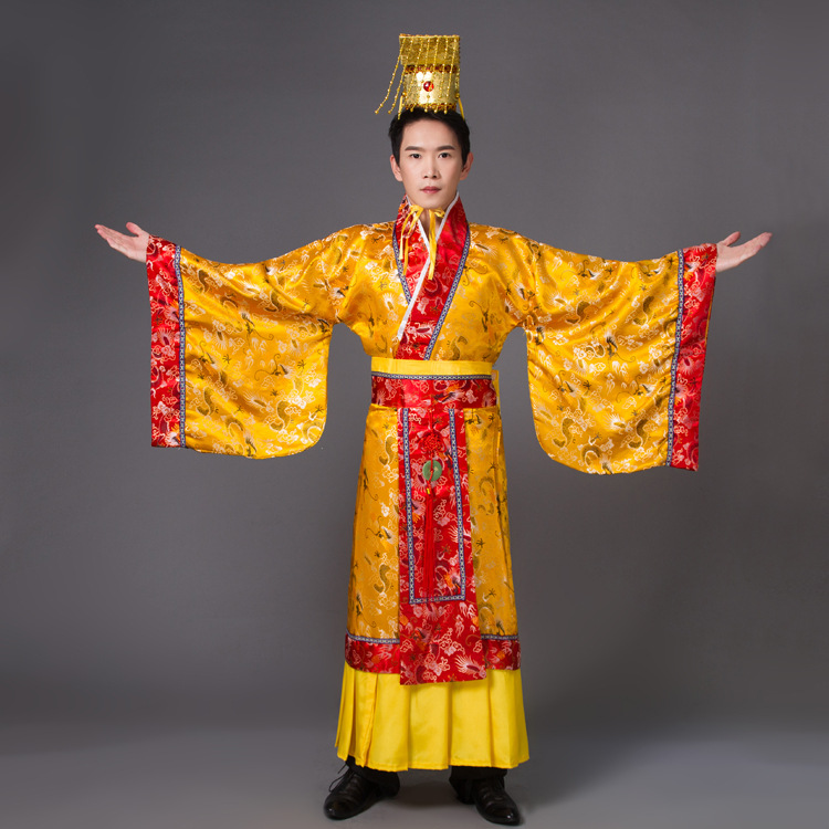 Adult Costume Chinese Hanfu Dress Mens Emperor King Stage Clothes Costumes Tang Suit Robe+hat Set young emperor chinese edition