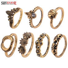 SHEEGIOR Vintage Indian Ethnic Ring Set Men Fashion Jewelry Punk Bronze Silver Sun Moon Elephant Crown Rings for Women Love Gift(China)