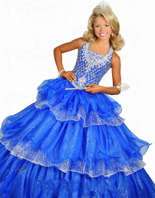 2016 New Lovely Beautiful Ball Gown Organza Flower Girl Dress Royal Blue  Beaded Shirred Kids Pageant cce2791601b9