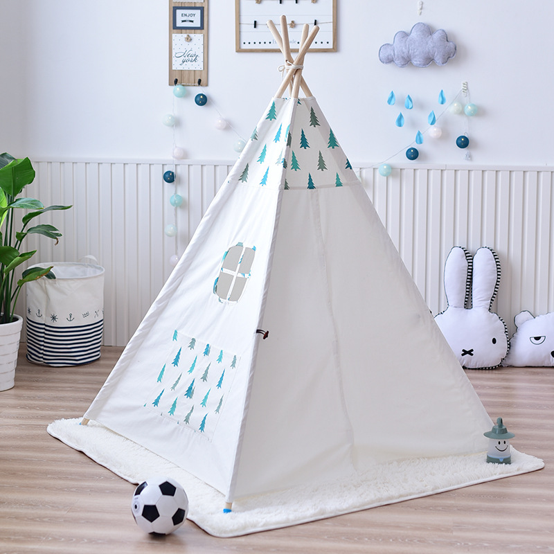 YARD Wooden Play Indian Tent For Kids Solid Color Children Poles Indoor Play Tents for Kids House Children Tent mrpomelo kids toy tent solid color indian white tents with window 100