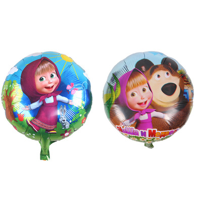 Lucky <font><b>100pcs</b></font>/lot 18inch Cartoon Marth Balloon Masha Bear <font><b>Foil</b></font> Helium Balloons Party Supplies Decorations Globos image