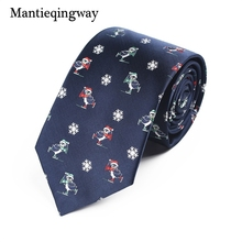 Mantieqingway Christmas Neck Ties for Mens Santa Claus Elk Pattern Polyester Necktie Business Wedding Tree
