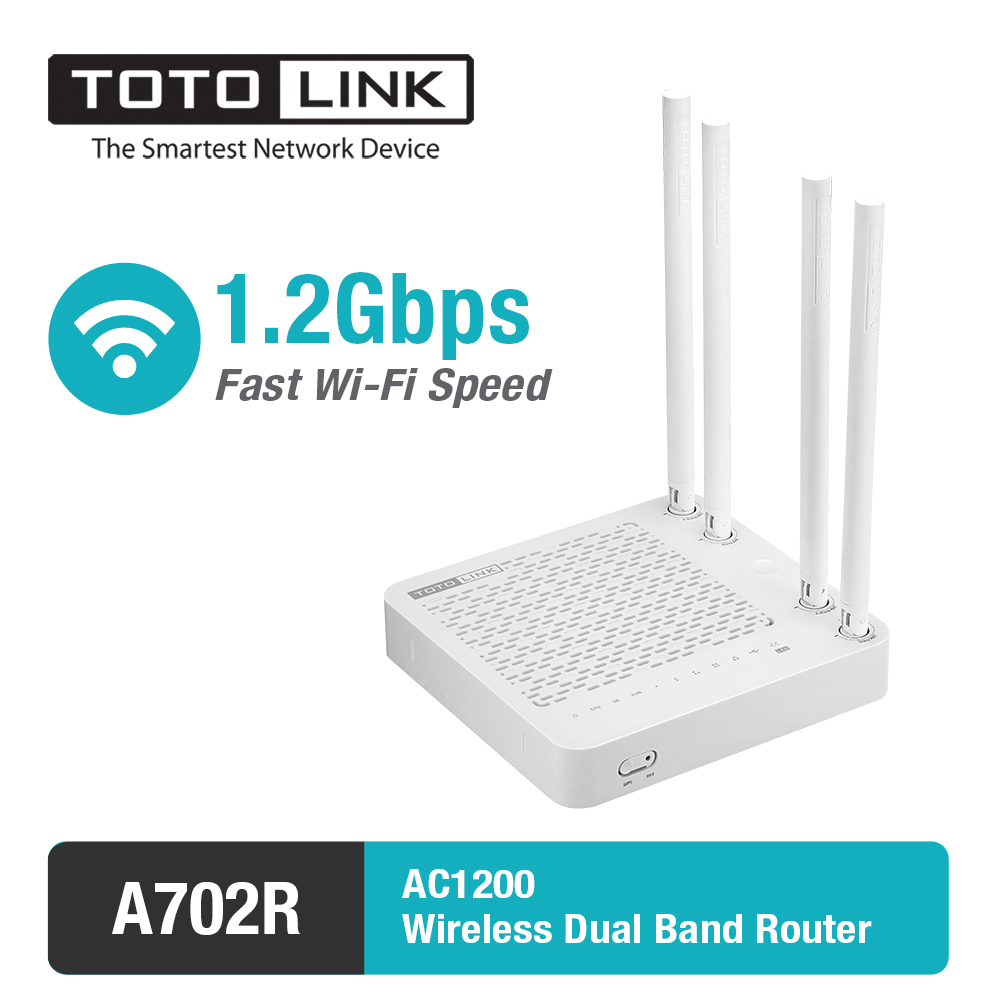 TOTOLINK AC1200Mbps Dual Band WiFi Router With WiFi Repeater Function English Firmware A702R