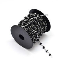 6mm Glass Faceted Abacus Black Beads Decorative Chains for Necklaces Bracelets Making with Spool & Platinum Brass Findings, 10m