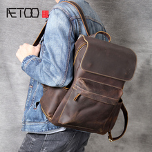 AETOO Classic head cowhide Double shoulder bag casual ride European and American retro Mad Horse Leather backpack