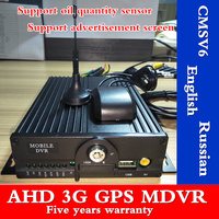 4ch car dvr double sd card 3g gps mdvr ambulance / sprinkler support in English / Spanish
