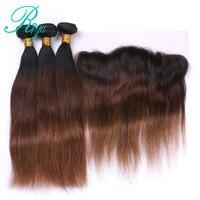 Riya Hair 1B 4 30 прямые волосы Омбре 3/4 шт с 13*4 синтетический фронтальный бразильские человеческие волосы для наращивания без запутывания пучков