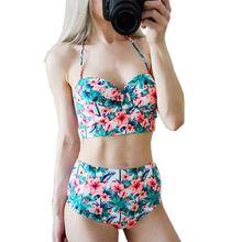 High Waist Flower Plus Size Push Up Padded Bathing Suit