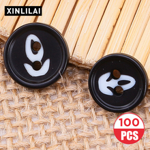10/11.5/15.5/15mm 100pcs Resin Black Lace Buttons Round Four Holes Wooden Suit Shirt Sewing Fastener