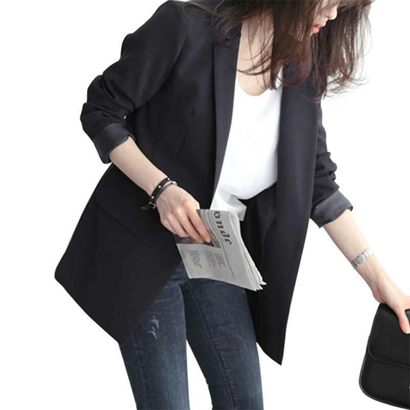Новый olgitum 2019 шикарный весенний офисный женский черный блейзер с рукавом в виде бревна, одноцветные куртки с вырезами, элегантные деловые блейзеры для женщин BL039