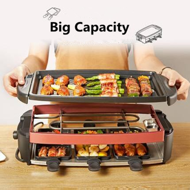 220V Double Layers Smokeless Electric Pan Grill Household BBQ Grill Raclette Grill Non-stick Electric Griddle With 6 Small Plate 1200w 220v non sticky family barbecue electric raclette grill smokeless grill raclette grill electric griddle