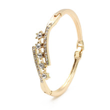 New Gold Plaed Clear Austrian Crystal CZ Bracelet Bangle For Women Jewelry pulseiras armband